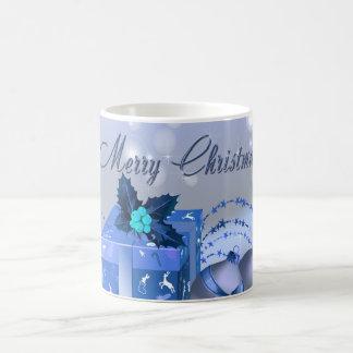 Merry Christmas Blue Baubles Coffee Mug