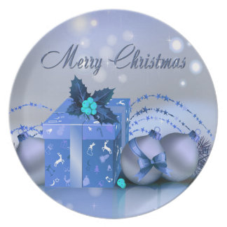 Merry Christmas Blue Baubles Plates