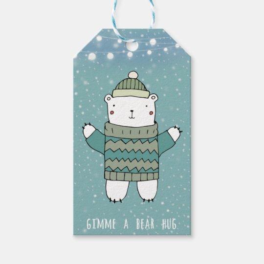 Merry Christmas blue bear hug gift tags