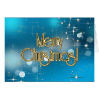 Merry Christmas Blue Bokeh lights Greeting Card