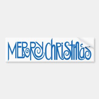 Merry Christmas blue Bumper Sticker Car Bumper Sticker