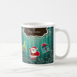Merry Christmas Blue Classic White Coffee Mug