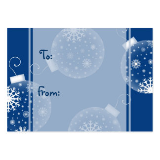 Merry Christmas Blue Decorations Gift Tags Large Business Card