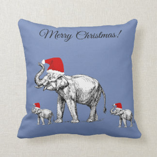 Merry Christmas blue elephant family pillow