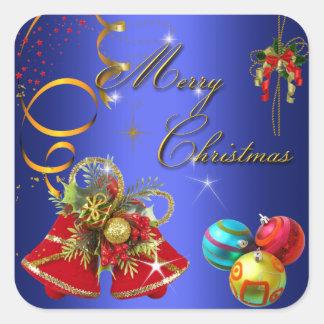 Merry Christmas Blue Gold Red Xmas Square Sticker