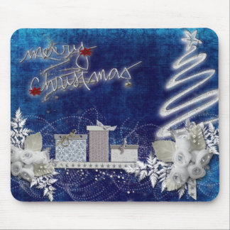 Merry Christmas blue illustration Mouse Pad