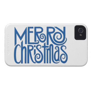 Merry Christmas blue iPhone 4 Barely There Case iPhone 4 Cover
