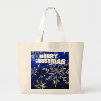 Merry Christmas  blue Large Tote Bag