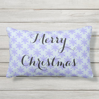 Merry Christmas. Blue lavender stars on pastel ble Outdoor Pillow