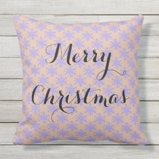 Merry Christmas. Blue lavender stars on taupe Throw Pillow