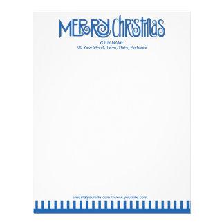 Merry Christmas blue Letterhead
