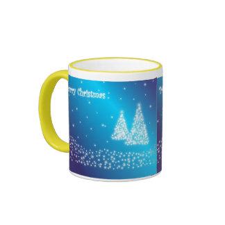 merry christmas blue mug