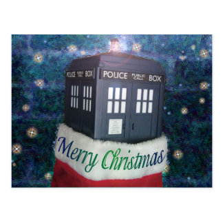 merry christmas blue police box in stocking postcard