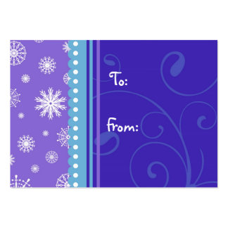 Merry Christmas Blue Purple Snowflakes Gift Tags Business Cards