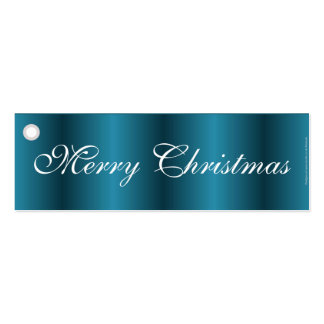 Merry Christmas blue satin gift tag Business Card Template