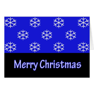 Merry Christmas Blue Snow Flake Greeting Card