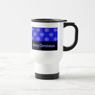 Merry Christmas Blue Snow Flake Mugs
