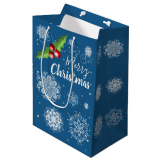 Merry Christmas blue snowflake gift bag