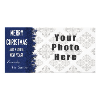 Merry Christmas Blue Snowflake Photo Card