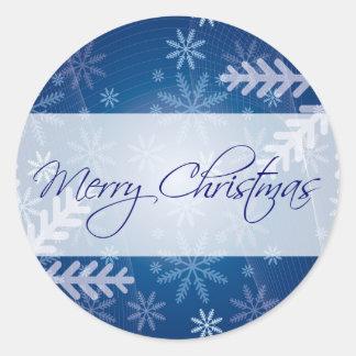 Merry Christmas Blue Snowflake Round Stickers