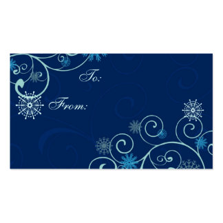 Merry Christmas Blue Snowflakes Gift Tags Business Card Templates