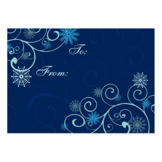 Merry Christmas Blue Snowflakes Gift Tags Pack Of Chubby Business Cards