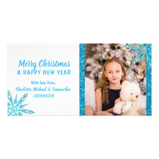 Merry Christmas Blue Snowflakes Glitter | PHOTO Card