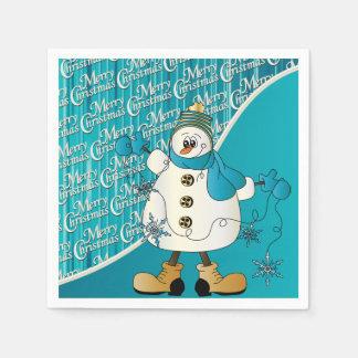 Merry Christmas Blue Snowman Disposable Napkin