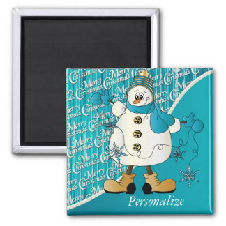 Merry Christmas Blue Snowman Square Magnet