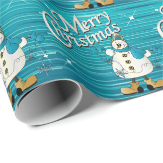 Merry Christmas Blue Snowman Wrapping Paper