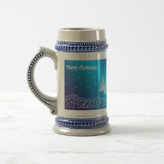 merry christmas blue stein beer steins
