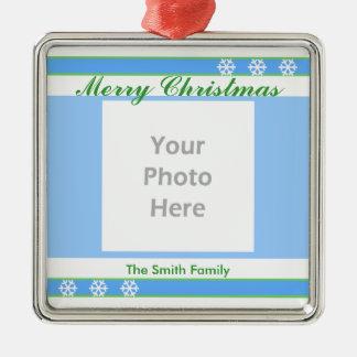 Merry Christmas Blue, White, Green (photo frame) Square Metal Christmas Ornament