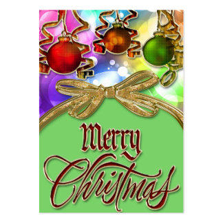 Merry Christmas Bokeh Lights & Baubles Large Business Card
