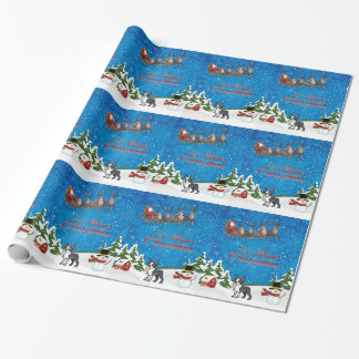 Merry Christmas Boston Terrier Wrapping Paper