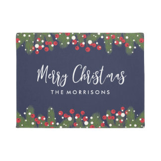 Merry Christmas Botanical Pine & Berry Custom Blue Doormat