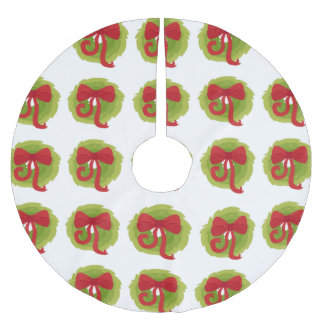 Merry Christmas Bow Wreath Holiday Tree Skirt Brushed Polyester Tree Skirt