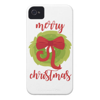Merry Christmas Bow Wreath iPhone 4 Cases
