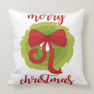 Merry Christmas Bow Wreath Pillow