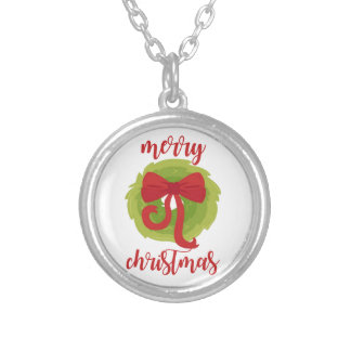 Merry Christmas Bow Wreath Silver Plated Necklace