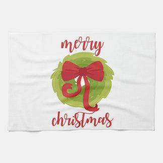 Merry Christmas Bow Wreath Towel