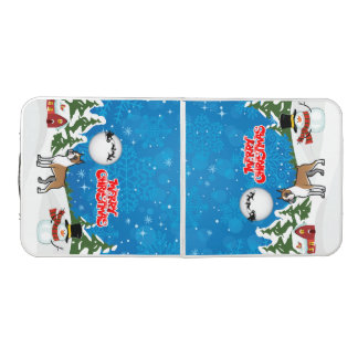 Merry Christmas Boxer With A Snowman And Santa Beer Pong Table