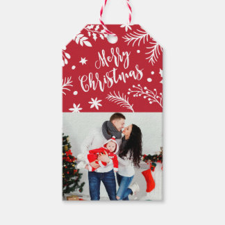 Merry Christmas Branches Holiday Photo Gift Tag