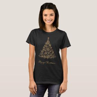 Merry Christmas bright gold Xmas snowflake tree T-Shirt