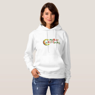 Merry Christmas Bright Red Green Pattern Letters Hoodie