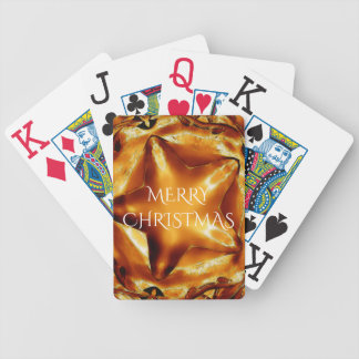 Merry Christmas Brown Gold Copper Elegant Star Bicycle Playing Cards