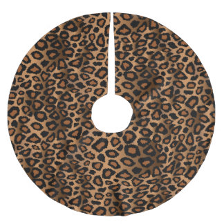 Merry Christmas Brown Leopard Animal Print Brushed Polyester Tree Skirt