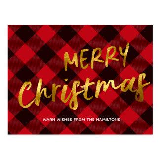 Merry Christmas Buffalo Red Plaid Gold Holiday Postcard