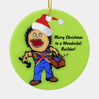 Merry Christmas Builder Ceramic Ornament