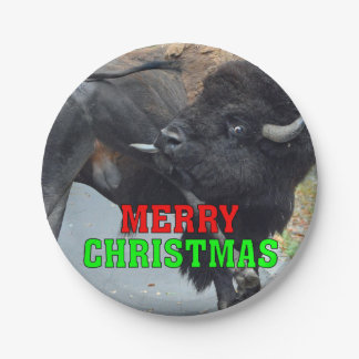 Merry Christmas Bull Bison Licking His Testicles Paper Plate