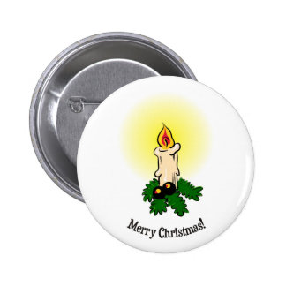 Merry Christmas Burning lit candle and leaves Pinback Button